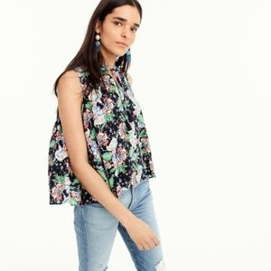 J. Crew Drapey Tie-Front Top in Island Floral